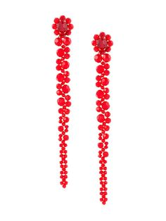 Red crystal stud drop earrings from Simone Rocha
