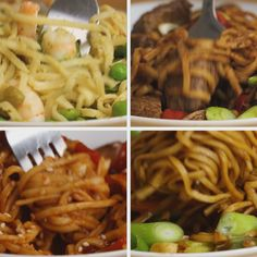 Easy Noodles Four Ways(Steak Pasta Recipes) I Love Food, Good Food, Yummy Food, Asian Recipes, Healthy Recipes, Easy Noodle Recipes, Noddle Recipes, Chinese Noodle Recipes, Pasta Recipes Video