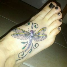 My first tattoo! Dragonfly on foot #Tattoos #Dragonflies #Ink #Inked