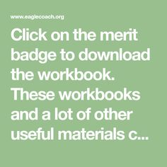 Click on the merit badge to download the workbook. These workbooks and a lot of other useful materials can be found at www.meritbadge.org. Camping   Citizenship in the Community   Citizenship in the Nation   Citizenship in … Continue reading →