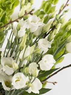 Witte lysianthus zijn mijn lievelingsbloemen, eventueel gemengd met witte rozen