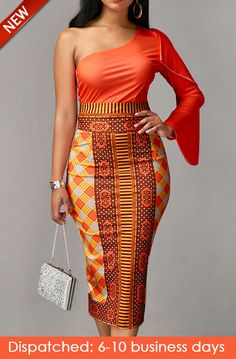 Long Sleeve Orange Top and Printed Sheath Skirt, new arrival, free shipping worldwide, yes or no? check it out.