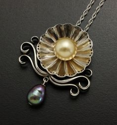 Gold and green pearls pendant of sterling silver of a by KAZNESQ, $305.00