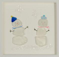 Snowman Framed Sea Glass Art