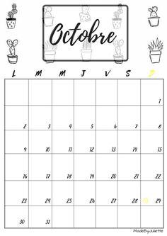 Calendrier - Octobre 2017 - Imprimes le calendrier pour customiser ton agenda! A VOIR : ma vidéo sur youtube