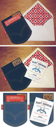 wrangler pocket invites- could see this for a bachelor party...