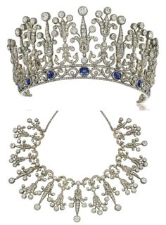 Late 19 century sapphire & diamond tiara/necklace graduated old-cut diamond set foliate motifs raised on a scrolling rose-cut diamond border w/cushion-shaped, mixed cut sapphire highlights. Mounted in silver & gold, Ca. 1890. Case with fittings & screwdriver. Signed G Confalonieri, Milano, Roma.