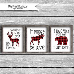 Buffalo Plaid I Love You More Than I can Bear Deer Moose Oh DEER Nursery Baby Shower Decor Cute Lumberjack Pun Fun Buck It Moose Be Love, I love you more than I can bear, You'll never know Deer how much I love you my Sunshine Woodland Lodge Silhouette Flannel Plaid