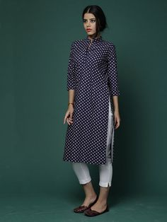 Navy Blue Cotton Collared Kurta