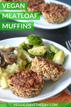 For the perfect holiday meatless main dish, try these easy gluten-free Vegan Meatloaf Muffins. Made with lentils, they're the ultimate in hearty comfort food. #veganmeatloaf #lentils #holiday #thanksgiving #veggiessavetheday Lentil Recipes, Vegan Dinner Recipes, Veggie Recipes, Whole Food Recipes, Vegetarian Recipes, Healthy Recipes, Oven Recipes, Vegetarian Cooking, Veggie Food