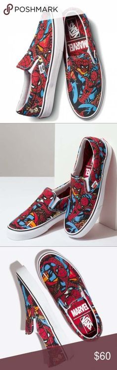 0193cafcf09a5a Vans Slip On Marvel Spider Man Black Red Men s NEW Brand new with box
