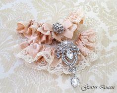 Blush Lace Wedding Garter / http://www.deerpearlflowers.com/wedding-garters-sets-from-etsy/3/