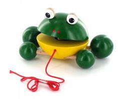 Ziehfigur Frosch Quincy von HOBEA-Germany  Holzspielzeug für Kinder im HOBEA-Shop: Schiebetier, Schiebefigur, Holzfigur Frosch.