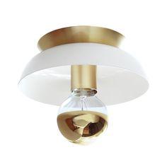 """Cedar & Moss Lucia White & Brass w/gold bulb $119  Depth 4""""  Length 8""""  Width  8"""" Canopy Width 5 3/4""""  http://www.cedarandmoss.com/lighting/lucia"""