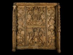 Unicorns on a wooden panel with the royal arms of Scotland, from Linlithgow Palace, 1540 - 1570.