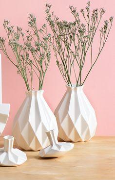 Editors picks - on Sale Geometric vase White ceramic vase Origami inspired Rosh HaShanah Gift idea Rosh-Hashana gift flower vase Modern