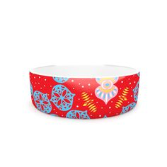 "Miranda Mol ""Frosted Red"" Blue Pet Bowl from KESS InHouse"