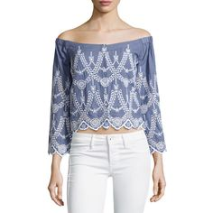 Kendall + Kylie Off-The-Shoulder Eyelet Top ($69) ❤ liked on Polyvore featuring tops, tempest, grommet top, blue off the shoulder top, 3/4 sleeve tops, blue crop top and eyelet crop top