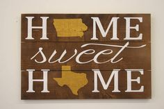 erfect give for two people that are from two different states! This is a wood pallet sign that measures 24 x 16. The background is stained Brown. Lettering is White. States are Metallic Gold.  This piece is handpainted. It is then sealed with a water based finish.  The back is left unfinished and comes ready to hang.  When you place your order, please specify in note to seller: State for top line State for bottom line