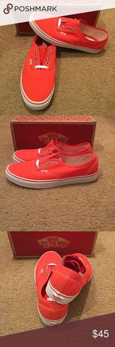 Vans Authentic Canvas Sneakers New in box. Cherry tomato/true white Vans Shoes Sneakers