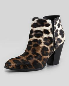 Leopard-Print Ombre Calf Hair Bootie, Naturale by Giuseppe Zanotti -cute little boot! wear with a long skirt.