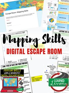 Mapping Skills Activity, Mapping Skills Digital Escape Room, World Geography Digital Escape 3rd Grade Social Studies, Social Studies Classroom, Social Studies Resources, Teaching Social Studies, Teacher Resources, Teaching Map Skills, Math Skills, Math Teacher, Student Learning
