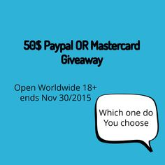 50$ Paypal or Mastercard #Giveaway. ENDS 11/30. US. via @CanNUSAWinNSave #win