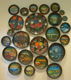 Large Antique Mexican Batea Collection - Circa 1930's at 1stdibs  - Bateas are wooden trays or bowls usually hand painted black and then toll painted with flowers or more rarely lake scenes. Most are made in Quiroga, Michoacán on Lake Patzcuaro and have been for generations, Mexico