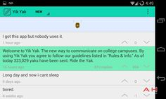 Yik Yak, an Anonymous Messaging App, Attracts College Students and Battles Secret and Whisper