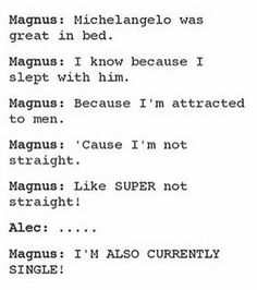 """And Alex's response?  """"But does magnus like me?"""" Uggh that boy."""
