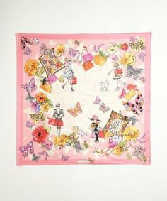 Salvatore Ferragamo pink city and shopping print silk scarf on shopstyle.com