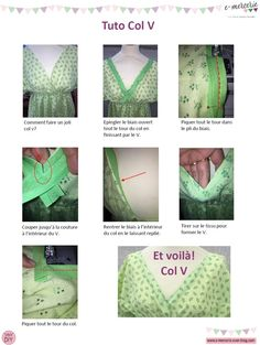 Tutoriel col V gansé de biais Blog Couture, Creation Couture, Techniques Couture, Sewing Techniques, Sewing Projects For Beginners, Sewing Tutorials, Maxi Dress Tutorials, Girl Dress Patterns, Skirt Patterns