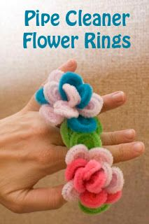Pipe Cleaner Flower Rings, awesome idea! #Visit lifewithmoorebabies.blogspot.com