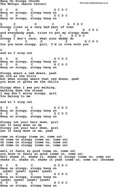 Song Lyrics with guitar chords for Hang On Sloopy