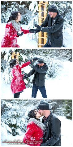 Cute Snowy Winter Engagement - Snowball Fight Spokane - Lacey LaDuke Photography -