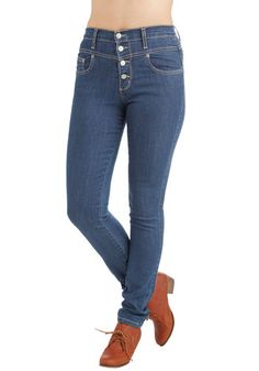 Karaoke Songstress Jeans in Classic - Blue, Solid, Buttons, Pockets, Casual, Skinny, Denim, High Waist, Basic, Best Seller, Rockabilly, Pinup, 90s, Urban, High Rise, Blue, Medium Wash, Denim, Top Rated, Summer, Scholastic/Collegiate, Gals, Exclusives, Good, Full length