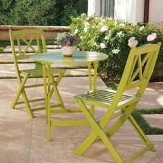 All-weather Folding Tables and Chairs  http://www.grandinroad.com
