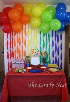 Logan's First Birthday Party! Rainbow Crepe Streamers and Balloons. Birthday Direct has awesome colo Crepe Paper Decorations, Purple Party Decorations, Birthday Party Decorations, Parties Decorations, Birthday Ideas, Balloon Decorations, Rainbow Decorations, Birthday Table, Theme Parties