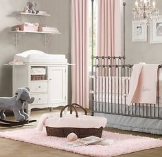 I love every single inch of this nursery. Pink. Grey. White. Elephants.