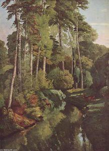 la foresta in autunno, olio su tela di Gustave Courbet (1819-1877, France)