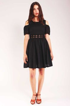 black crochet and lace cotton dress Valley of the Dolls