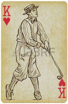 Naipe, King - vintage del golfista, un hombre. Dibujo a mano alzada, vector. Vector es f�cil editable por capas. Antecedentes (tarjeta) tambi�n est� aislado. photo