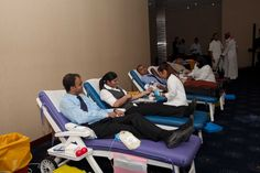 Volunteers in large numbers took part in the blood donation.