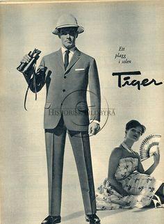 Tiger herrkonfektion. AB Schwartzman & Nordström, Uddevalla. Reklambild. Man visar herrmodet. Folket i Bild nr 21 1960.