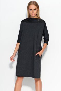 Sukienka Makadamia M317 - grafitowy melanż Stylowa sukienka damska typu oversize: ...  https://www.mega-ciuchy.pl/sukienka_makadamia_m317_grafitowy_melanz