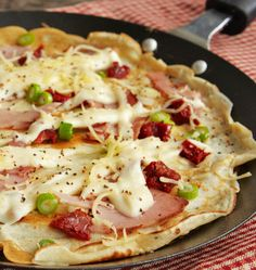 Pancakes for dinner AND pudding. Try creamy cheese sauce, ham and sundried tomato as your savoury pancake course.