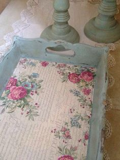 DIY Repainted, Distressed and Decoupaged Tray - Perfect to do with digital scrapbook papers! Make your design, then print and decoupage!