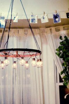 DIY Industrial And Vintage Chandelier | Shelterness How To Make A Chandelier, Diy Chandelier, Black Chandelier, Vintage Chandelier, Chandeliers, Bottle Chandelier, Outdoor Chandelier, Bicycle Crafts, Bicycle Decor