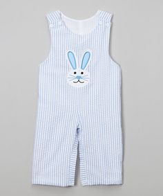 Blue Seersucker Easter Bunny Overalls - Infant & Toddler #zulily #zulilyfinds