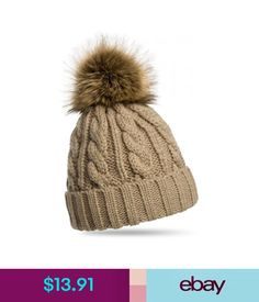 59b38260c96  13.91 - Ladies Knitted Pom-Pom Hat Braid Pattern Winter Mutze With Faux Fur  Warm